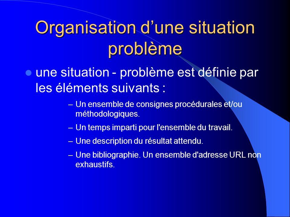 Organisation dune situation problème une situation - problème est définie par les éléments suivants : –Un ensemble de consignes procédurales et/ou mét