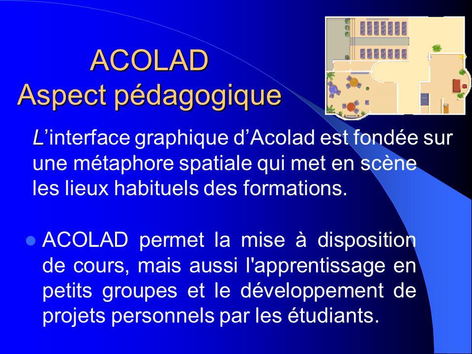 ACOLAD Aspect pédagogique ACOLAD permet la mise à disposition de cours, mais aussi l'apprentissage en petits groupes et le développement de projets pe
