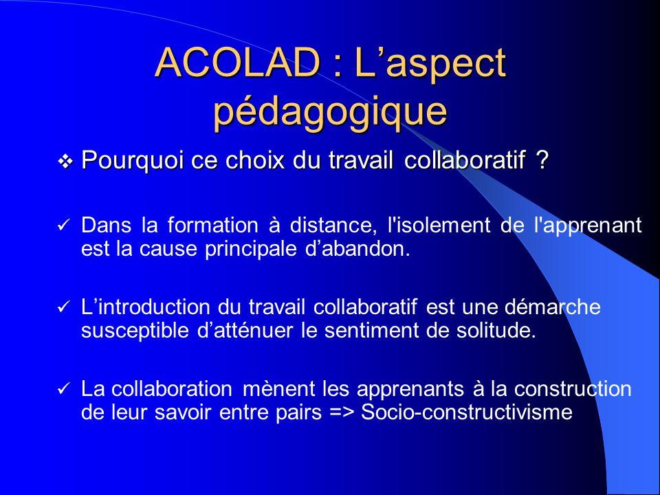 ACOLAD : Laspect pédagogique Pourquoi ce choix du travail collaboratif ? Pourquoi ce choix du travail collaboratif ? Dans la formation à distance, l'i