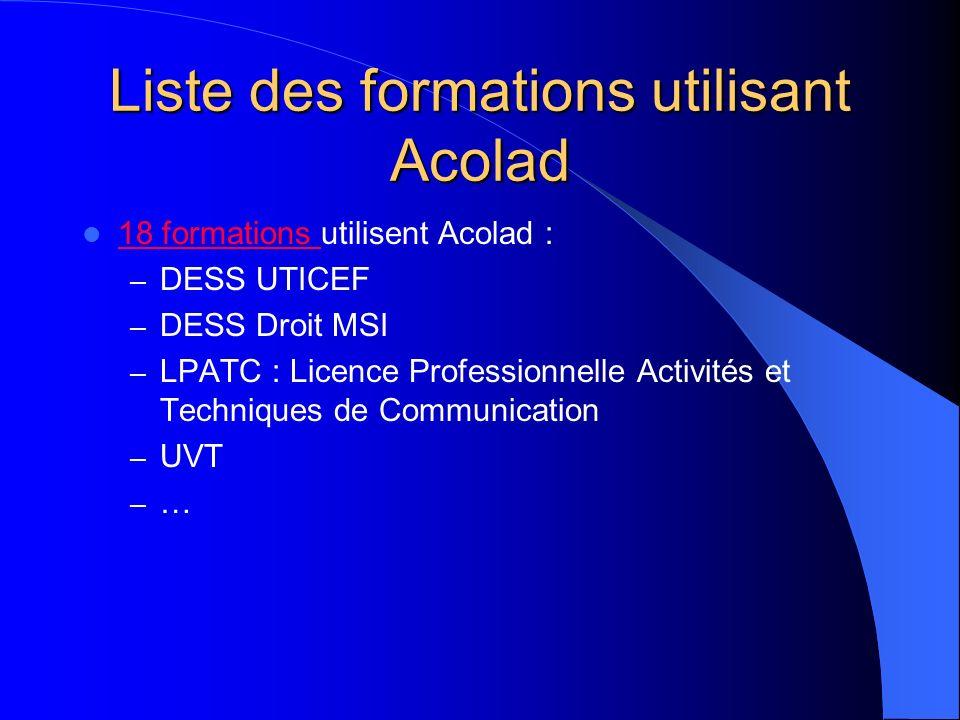 Liste des formations utilisant Acolad 18 formations utilisent Acolad : 18 formations – DESS UTICEF – DESS Droit MSI – LPATC : Licence Professionnelle