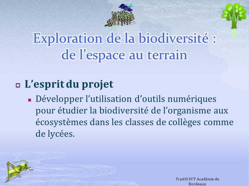 Lesprit du projet Développer lutilisation doutils numériques pour étudier la biodiversité de lorganisme aux écosystèmes dans les classes de collèges c