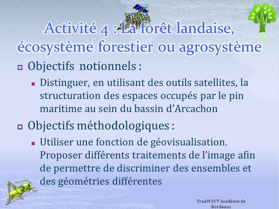 Objectifs notionnels : Distinguer, en utilisant des outils satellites, la structuration des espaces occupés par le pin maritime au sein du bassin dArc