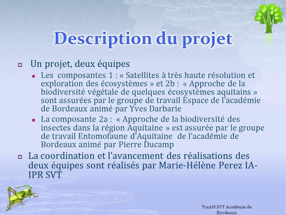 Un projet, deux équipes Les composantes 1 : « Satellites à très haute résolution et exploration des écosystèmes » et 2b : « Approche de la biodiversit