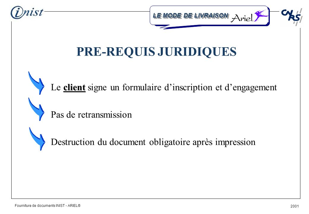 Fourniture de documents INIST - ARIEL® 2001 LACQUISITION DU LOGICIEL Service Administration des ventes dINIST-DIFFUSION version «print only» 800 FF HT 100 FF HT frais dexpédition Distributeur exclusif pour la France : CENFOR INTERNATIONAL BOOKS S.r.l.