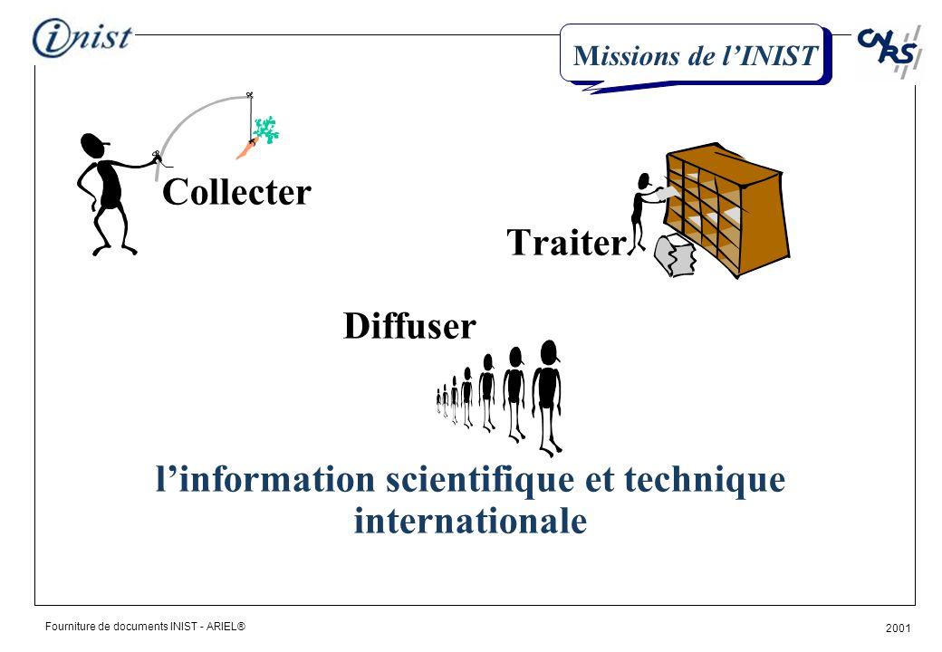 Fourniture de documents INIST - ARIEL® 2001 Collecter Traiter Diffuser linformation scientifique et technique internationale Missions de lINIST