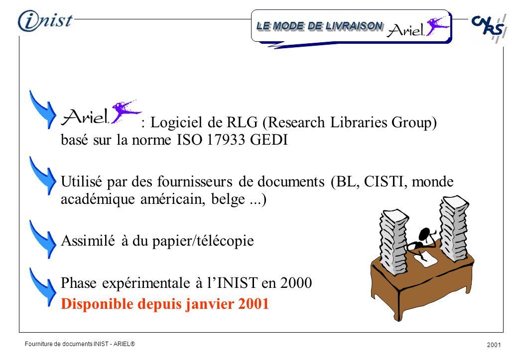 Fourniture de documents INIST - ARIEL® 2001 QUEST-CE QUE CEST LE MODE DE LIVRAISON