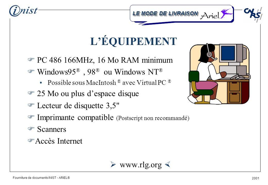 Fourniture de documents INIST - ARIEL® 2001 Information Clients Pour contacter lINIST (33) 03 83 50 46 64 (33) 03 83 50 47 27 2, allée du Parc de Brabois F-54514 Vandœuvre cedex http://www.inist.fr infoclient@inist.fr