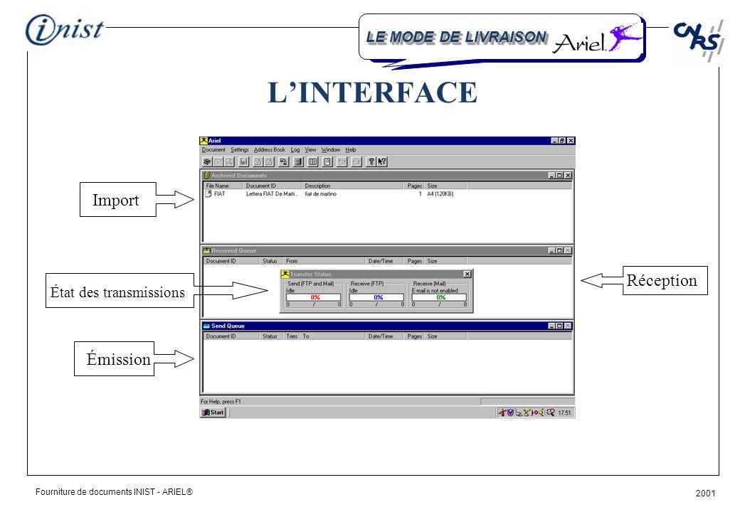 Fourniture de documents INIST - ARIEL® 2001 LINTERFACE Import État des transmissions Émission Réception LE MODE DE LIVRAISON
