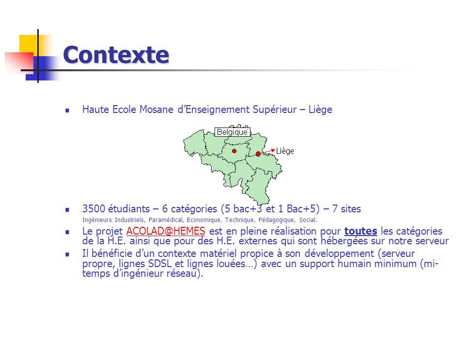 Contexte Haute Ecole Mosane dEnseignement Supérieur – Liège 3500 étudiants – 6 catégories (5 bac+3 et 1 Bac+5) – 7 sites Ingénieurs Industriels, Param