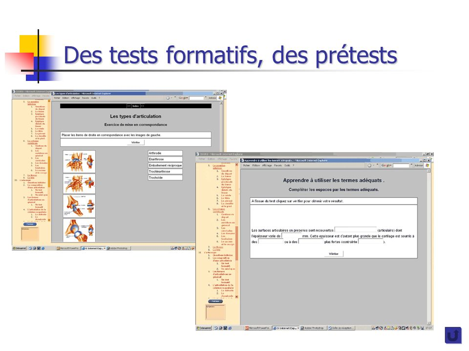 Des tests formatifs, des prétests