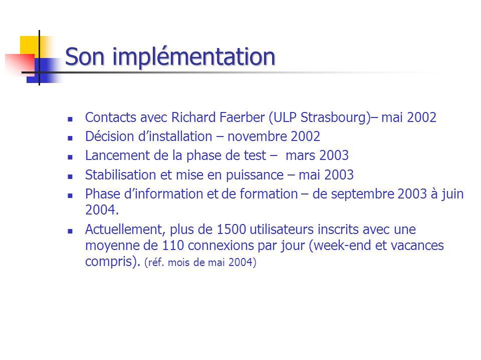 Son implémentation Contacts avec Richard Faerber (ULP Strasbourg)– mai 2002 Décision dinstallation – novembre 2002 Lancement de la phase de test – mar