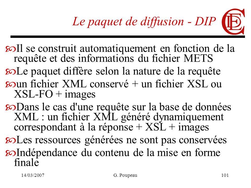 14/03/2007G. Poupeau101 Le paquet de diffusion - DIP Il se construit automatiquement en fonction de la requête et des informations du fichier METS Le