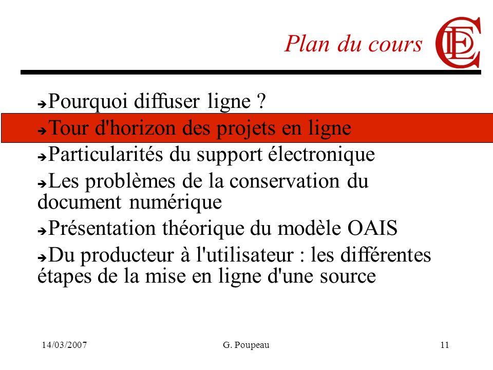 14/03/2007G. Poupeau11 Plan du cours Pourquoi diffuser ligne ? Tour d'horizon des projets en ligne Particularités du support électronique Les problème