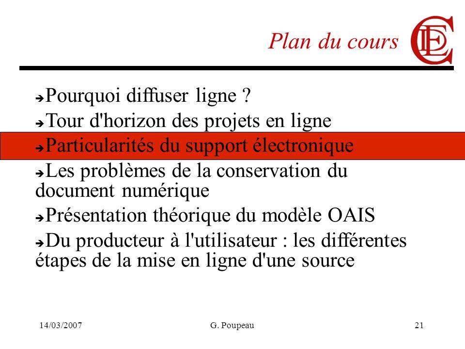 14/03/2007G. Poupeau21 Plan du cours Pourquoi diffuser ligne ? Tour d'horizon des projets en ligne Particularités du support électronique Les problème