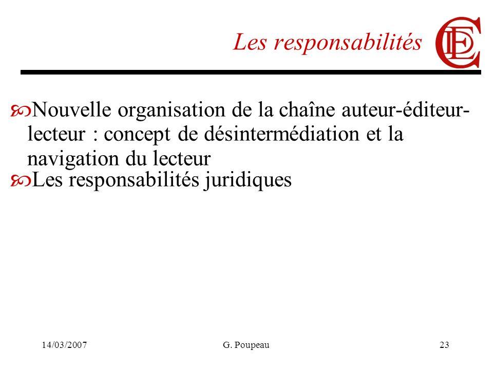 14/03/2007G. Poupeau23 Les responsabilités Nouvelle organisation de la chaîne auteur-éditeur- lecteur : concept de désintermédiation et la navigation