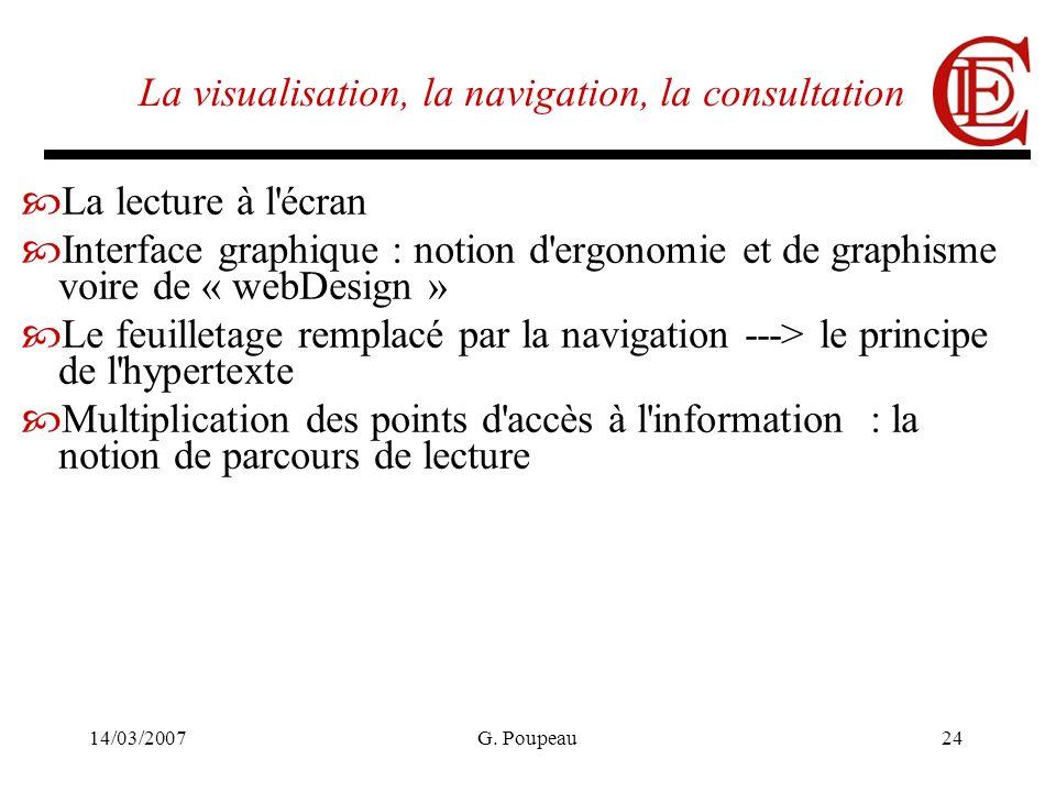 14/03/2007G. Poupeau24 La visualisation, la navigation, la consultation La lecture à l'écran Interface graphique : notion d'ergonomie et de graphisme