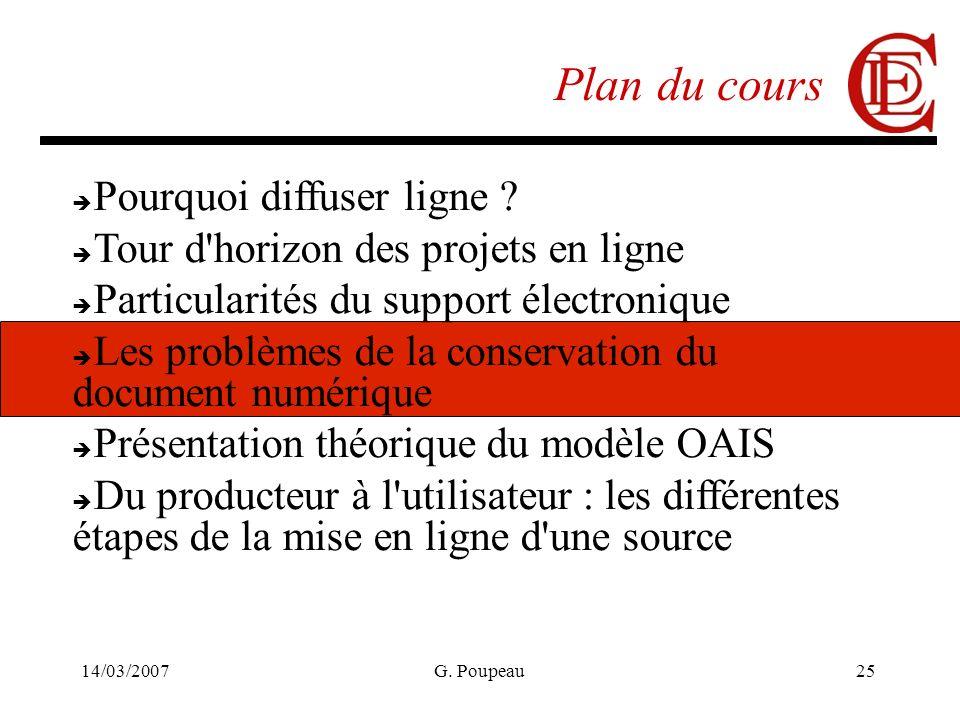 14/03/2007G. Poupeau25 Plan du cours Pourquoi diffuser ligne ? Tour d'horizon des projets en ligne Particularités du support électronique Les problème