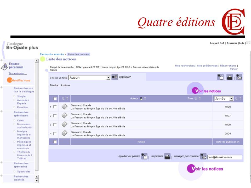 14/03/2007G. Poupeau32 Quatre éditions