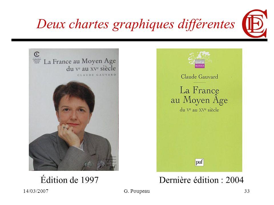14/03/2007G. Poupeau33 Deux chartes graphiques différentes Édition de 1997Dernière édition : 2004