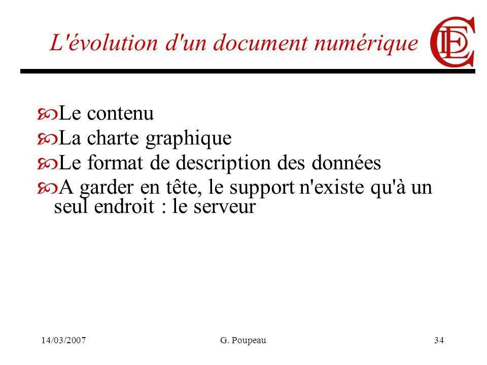 14/03/2007G. Poupeau34 L'évolution d'un document numérique Le contenu La charte graphique Le format de description des données A garder en tête, le su