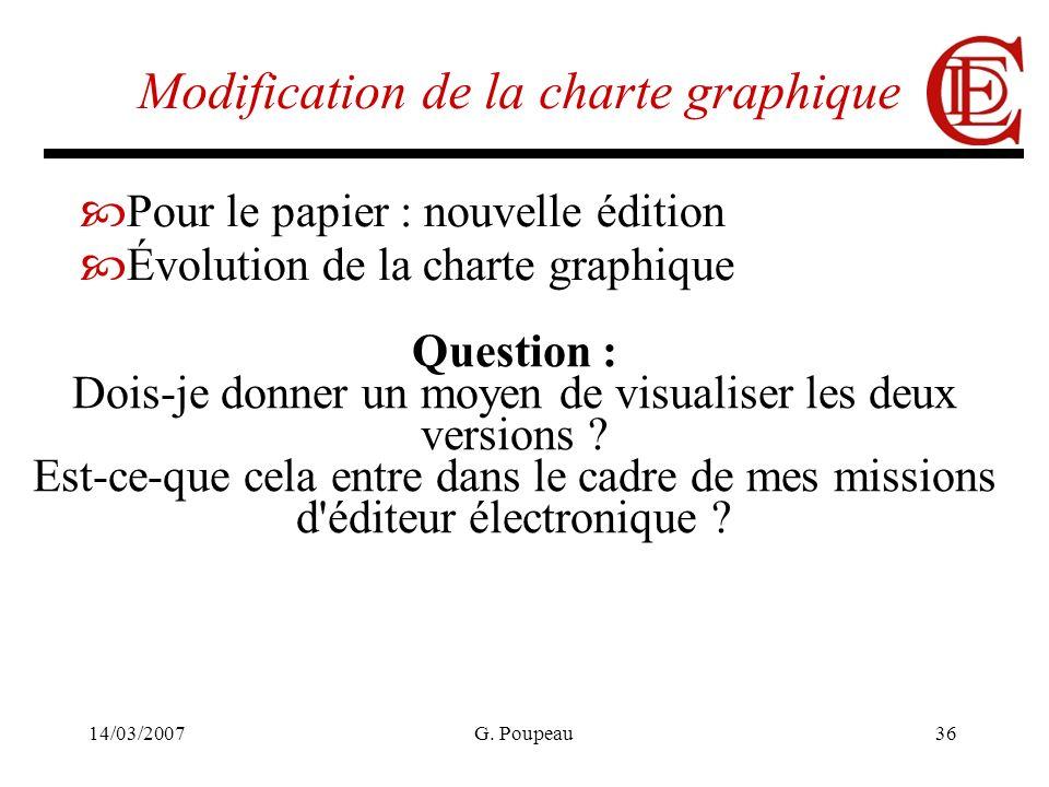 14/03/2007G. Poupeau36 Modification de la charte graphique Pour le papier : nouvelle édition Évolution de la charte graphique Question : Dois-je donne
