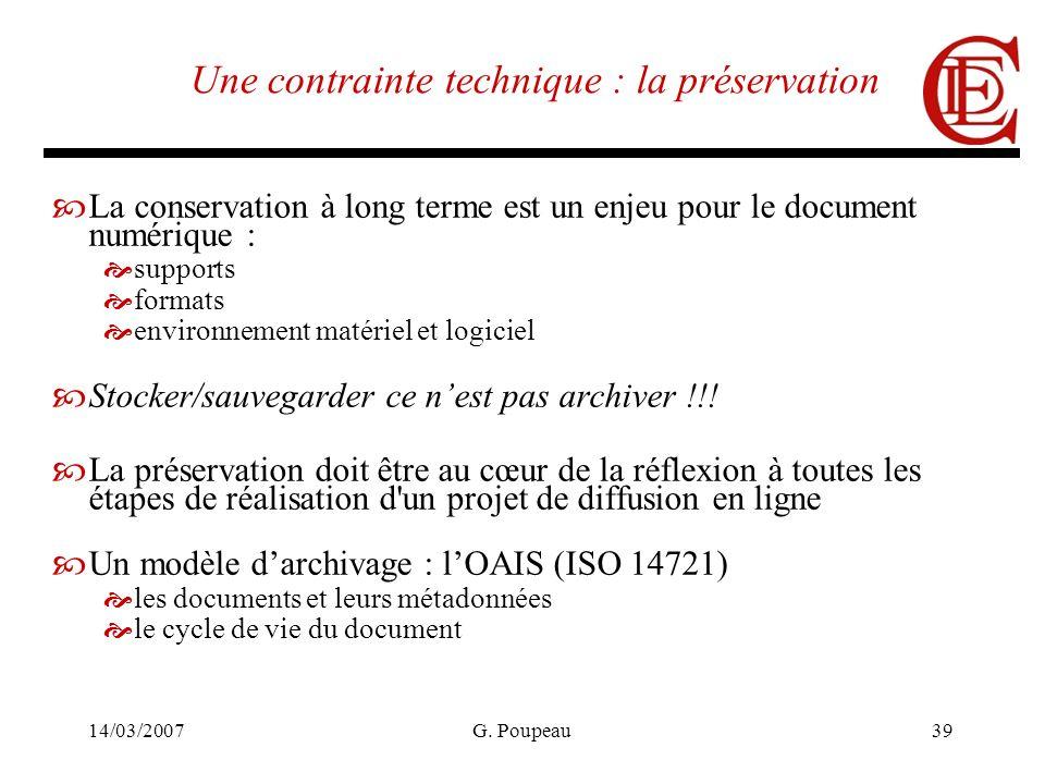 14/03/2007G. Poupeau39 Une contrainte technique : la préservation La conservation à long terme est un enjeu pour le document numérique : supports form
