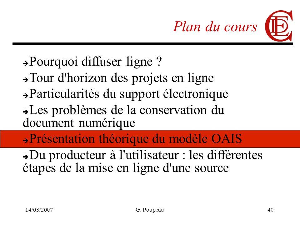 14/03/2007G. Poupeau40 Plan du cours Pourquoi diffuser ligne ? Tour d'horizon des projets en ligne Particularités du support électronique Les problème