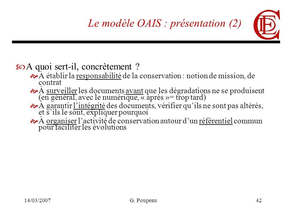 14/03/2007G. Poupeau42 Le modèle OAIS : présentation (2) A quoi sert-il, concrètement ? À établir la responsabilité de la conservation : notion de mis