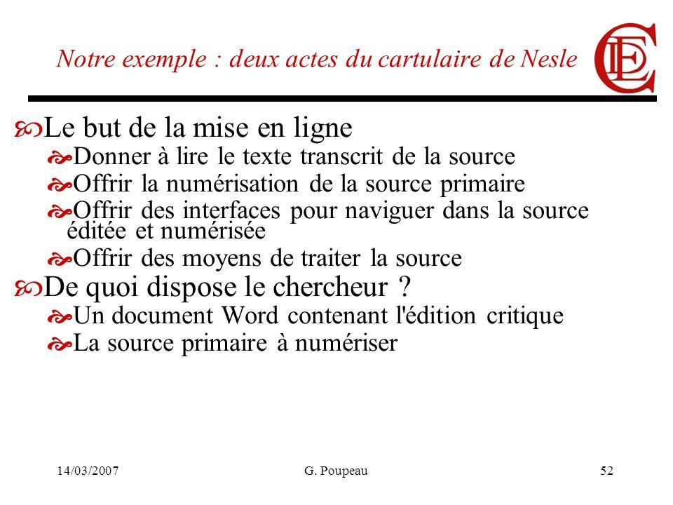 14/03/2007G. Poupeau52 Notre exemple : deux actes du cartulaire de Nesle Le but de la mise en ligne Donner à lire le texte transcrit de la source Offr