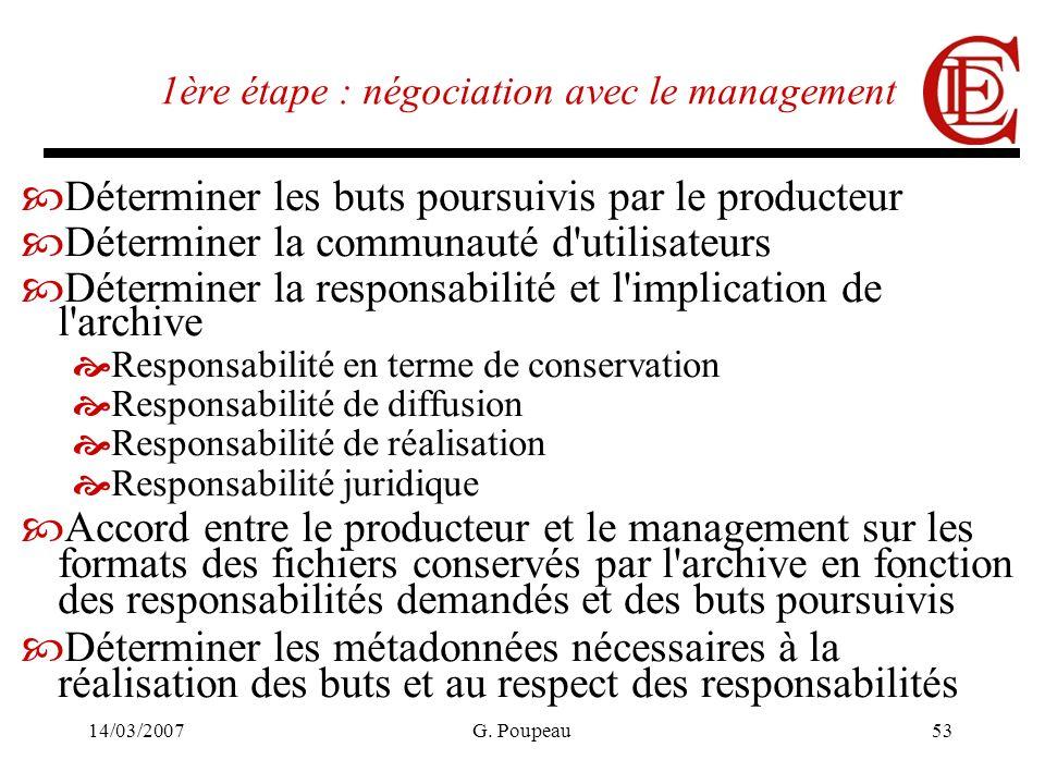 14/03/2007G. Poupeau53 1ère étape : négociation avec le management Déterminer les buts poursuivis par le producteur Déterminer la communauté d'utilisa