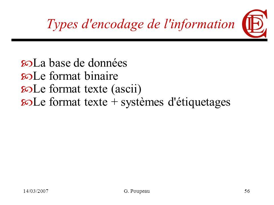 14/03/2007G. Poupeau56 Types d'encodage de l'information La base de données Le format binaire Le format texte (ascii) Le format texte + systèmes d'éti