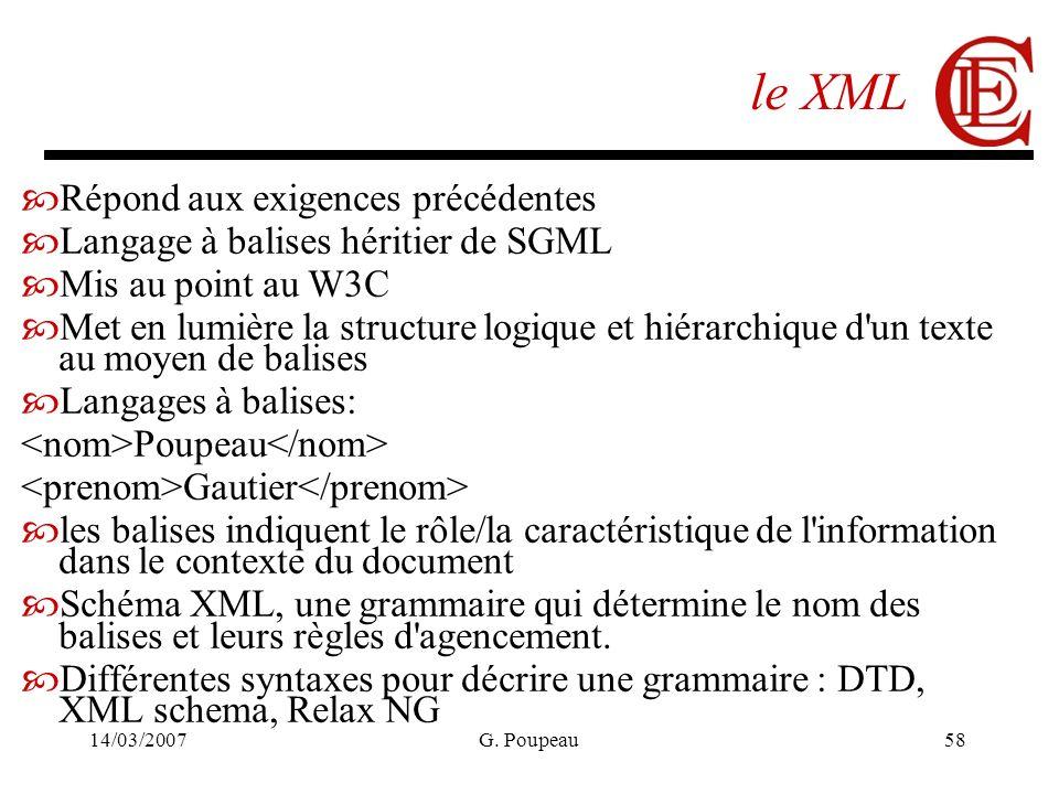 14/03/2007G. Poupeau58 le XML Répond aux exigences précédentes Langage à balises héritier de SGML Mis au point au W3C Met en lumière la structure logi