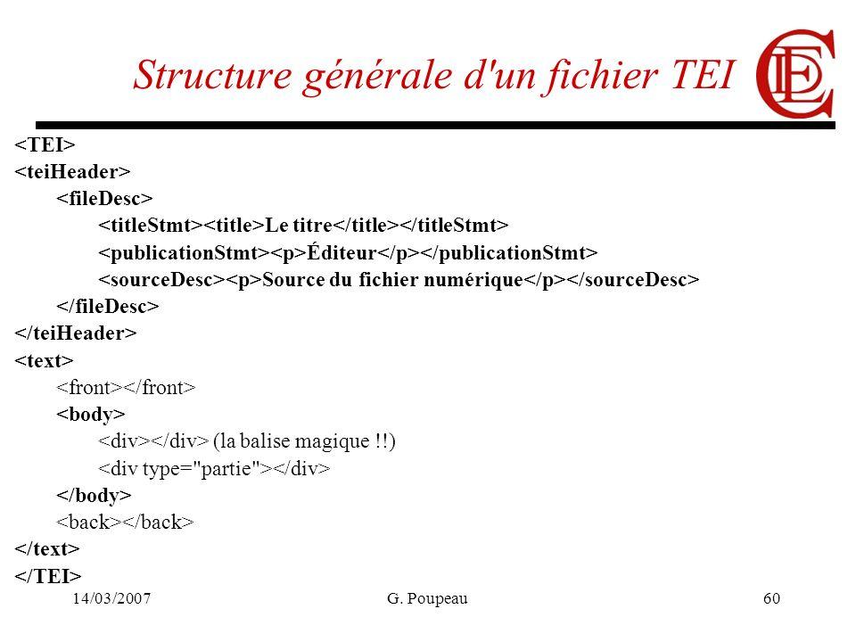 14/03/2007G. Poupeau60 Structure générale d'un fichier TEI Le titre Éditeur Source du fichier numérique (la balise magique !!)