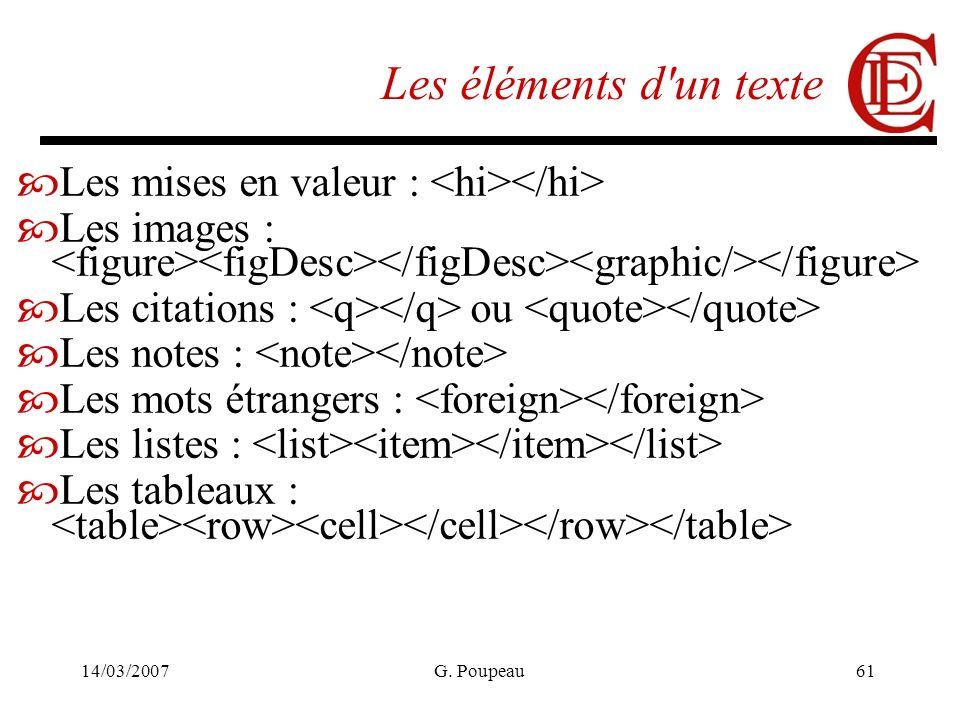14/03/2007G. Poupeau61 Les éléments d'un texte Les mises en valeur : Les images : Les citations : ou Les notes : Les mots étrangers : Les listes : Les