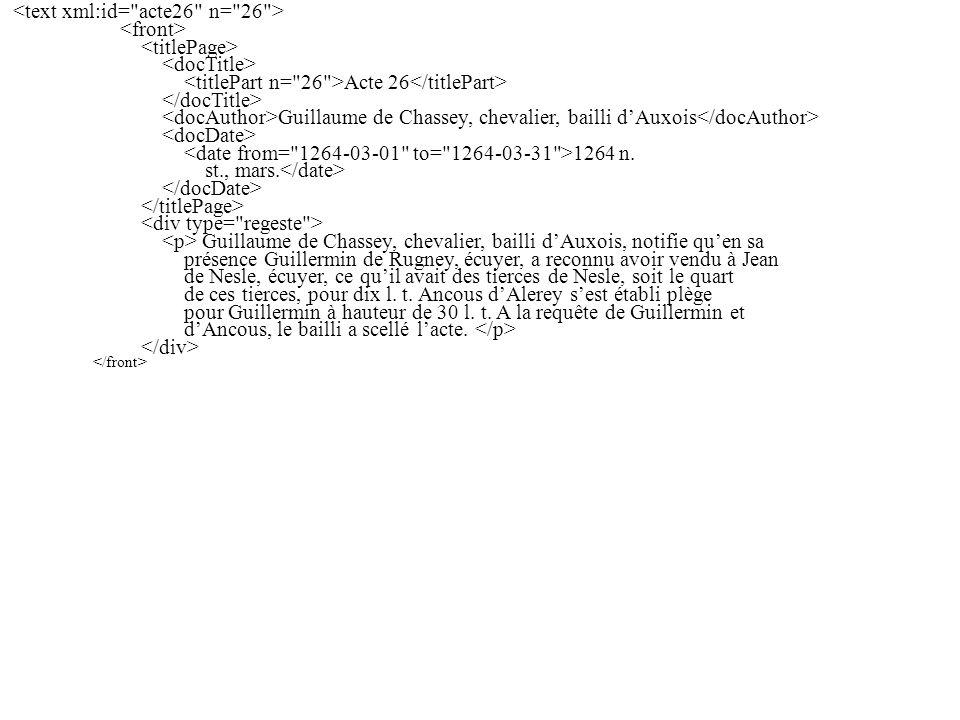 Acte 26 Guillaume de Chassey, chevalier, bailli dAuxois 1264 n.
