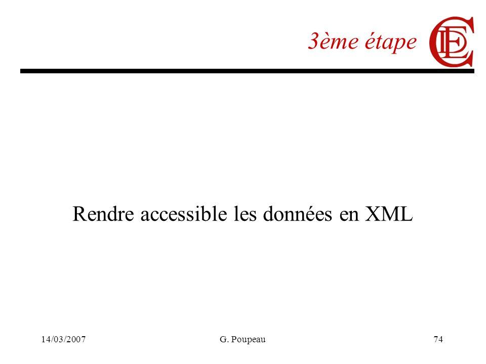 14/03/2007G. Poupeau74 3ème étape Rendre accessible les données en XML