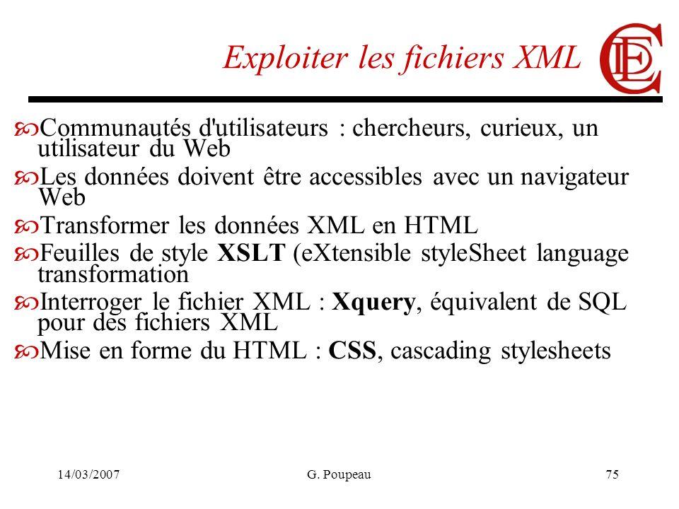 14/03/2007G. Poupeau75 Exploiter les fichiers XML Communautés d'utilisateurs : chercheurs, curieux, un utilisateur du Web Les données doivent être acc