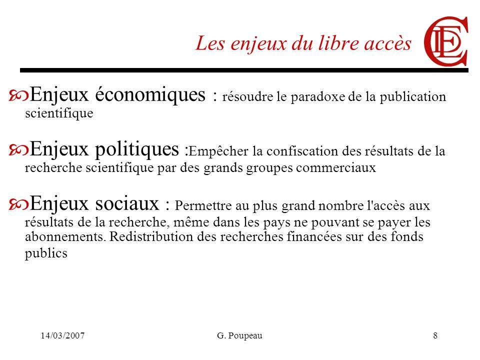 14/03/2007G. Poupeau8 Les enjeux du libre accès Enjeux économiques : résoudre le paradoxe de la publication scientifique Enjeux politiques : Empêcher
