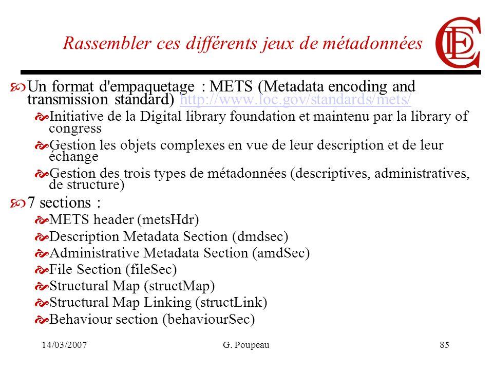 14/03/2007G. Poupeau85 Rassembler ces différents jeux de métadonnées Un format d'empaquetage : METS (Metadata encoding and transmission standard) http