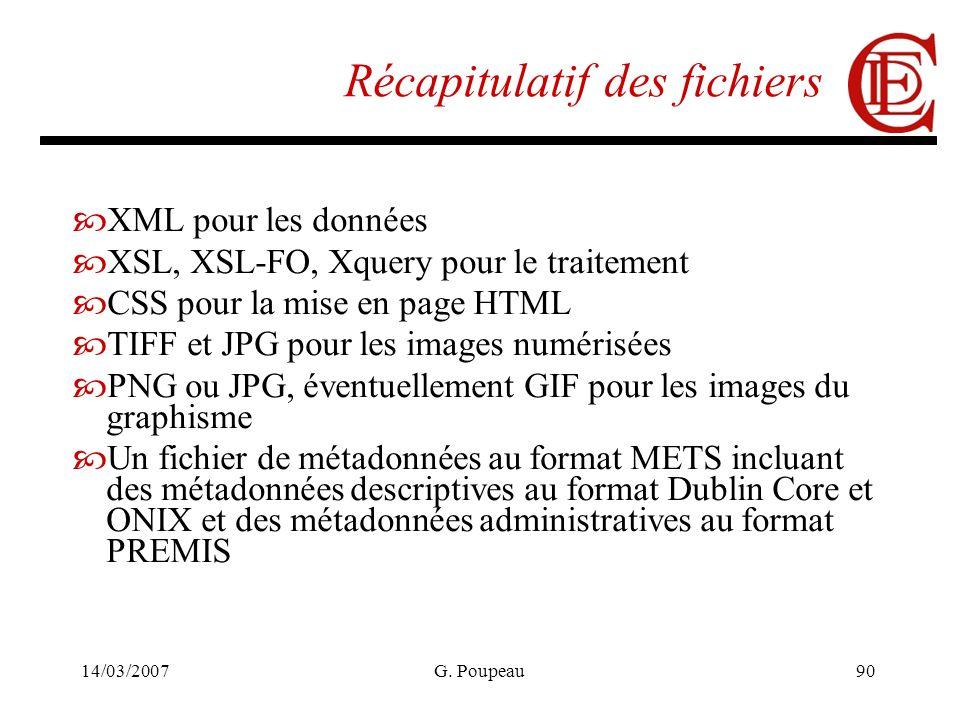 14/03/2007G. Poupeau90 Récapitulatif des fichiers XML pour les données XSL, XSL-FO, Xquery pour le traitement CSS pour la mise en page HTML TIFF et JP