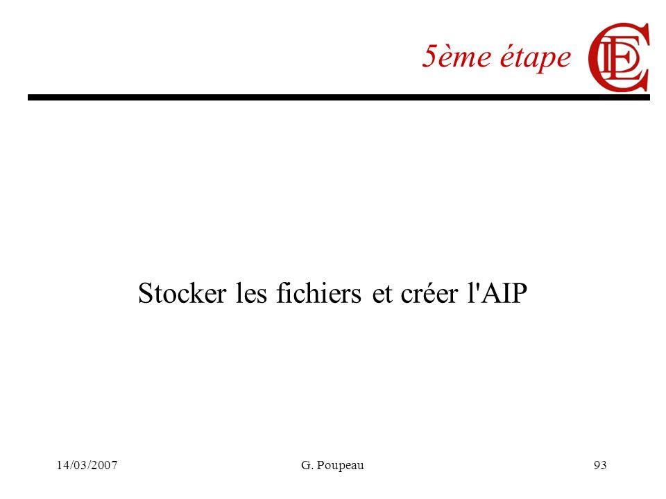14/03/2007G. Poupeau93 5ème étape Stocker les fichiers et créer l AIP