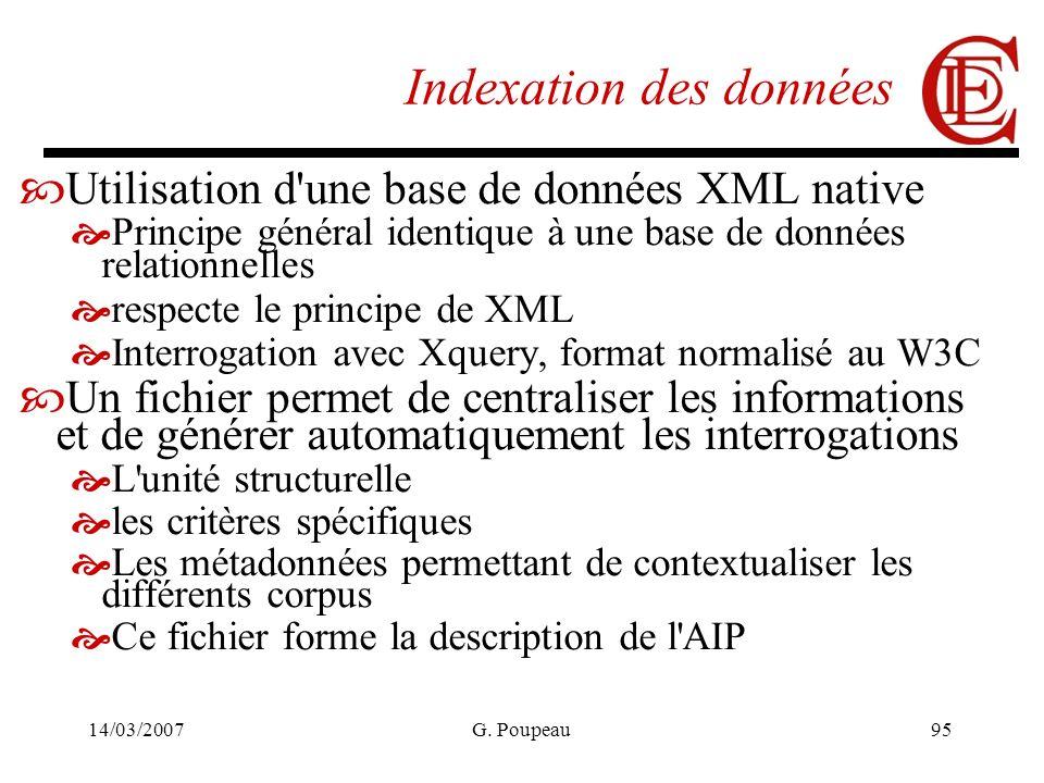 14/03/2007G. Poupeau95 Indexation des données Utilisation d'une base de données XML native Principe général identique à une base de données relationne
