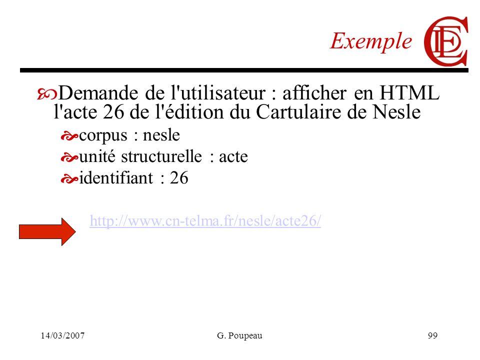 14/03/2007G. Poupeau99 Exemple Demande de l'utilisateur : afficher en HTML l'acte 26 de l'édition du Cartulaire de Nesle corpus : nesle unité structur