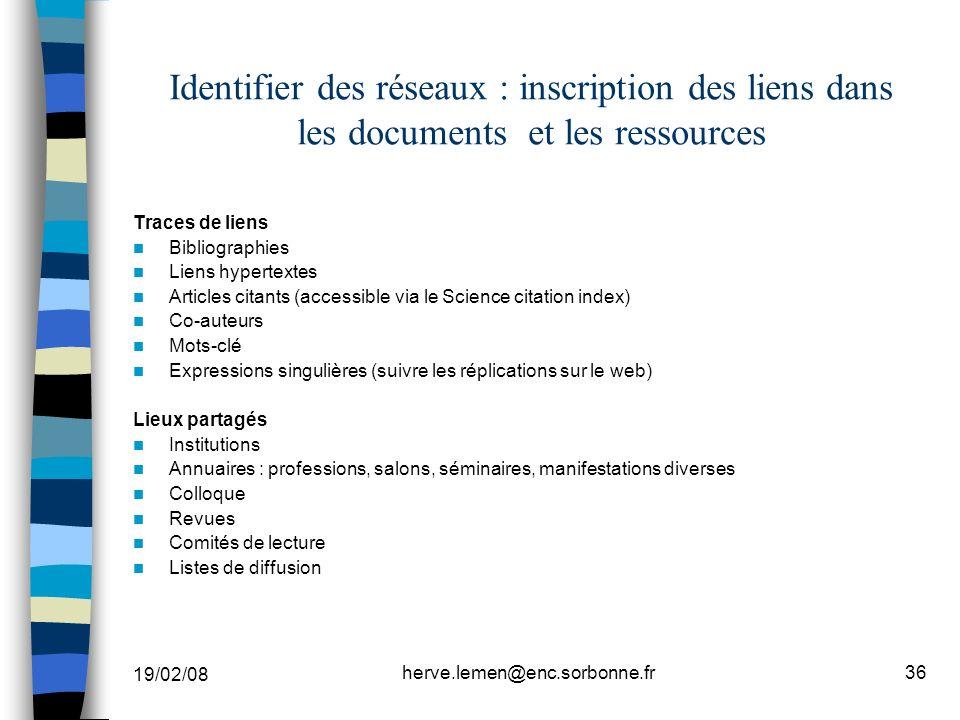 19/02/08 herve.lemen@enc.sorbonne.fr36 Identifier des réseaux : inscription des liens dans les documents et les ressources Traces de liens Bibliograph