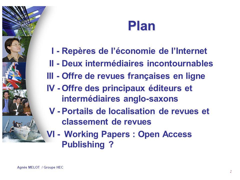 Agnès MELOT / Groupe HEC 1 ANALYSE DE LOFFRE DES REVUES EN LIGNE EN ECONOMIE ET EN GESTION Stage URFIST 17 Juin 2004
