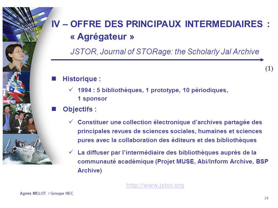 Agnès MELOT / Groupe HEC 35 Contenu : 2 586 Revues en langue anglaise dont presse de trade..