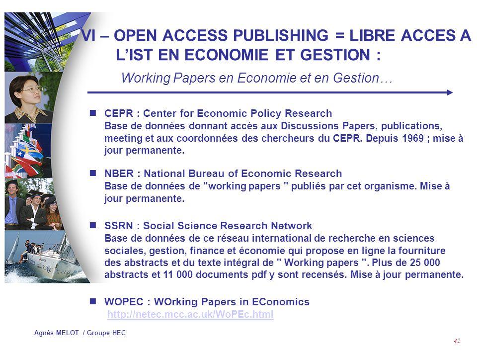 Agnès MELOT / Groupe HEC 41 V – PORTAILS DE LOCALISATION DES REVUES ET CLASSEMENT DE REVUES : Classement de revues ….