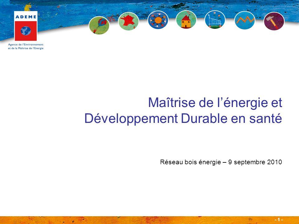 - 1 - Maîtrise de lénergie et Développement Durable en santé Réseau bois énergie – 9 septembre 2010