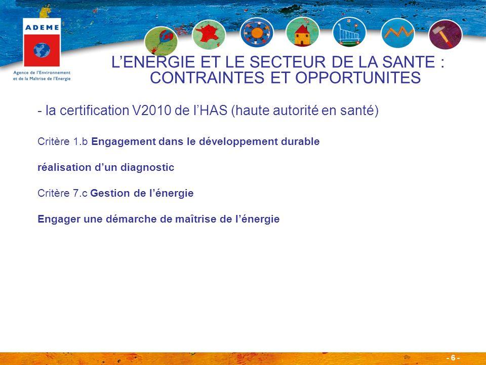 - 7 - - Des engagements à respecter dans le cadre de la Convention dObjectifs signée en 2009 entre les Ministères de la santé, de lécologie, les Fédérations (FHP, FHF et FEHAP) et lADEME.