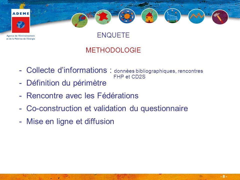 - 8 - ENQUETE METHODOLOGIE -Collecte dinformations : données bibliographiques, rencontres FHP et CD2S -Définition du périmètre -Rencontre avec les Fédérations -Co-construction et validation du questionnaire -Mise en ligne et diffusion